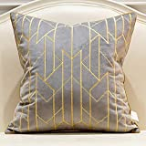 Avigers 20 x 20 Inches Gray Gold Striped Plaid Embroidered Cushion Cases Luxury European Throw Pillow Covers Decorative Pillows for Couch Living Room Bedroom Car 50 x 50cm