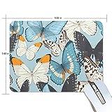 MALPLENA - Alfombrilla de ratón con diseño de mariposas azules y textura de primera calidad, base de goma antideslizante para ordenador portátil, ordenador y PC