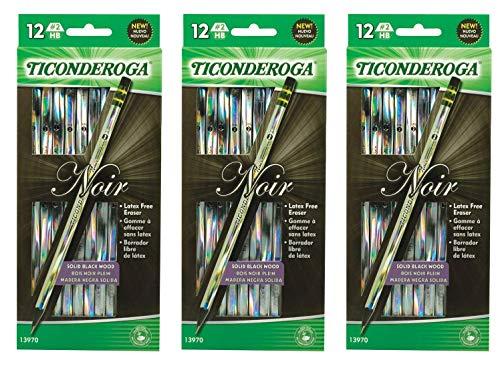 Ticonderoga Noir Black Wood-Cased #2 Pencils, Holographic Design, 12-Count Hang Tab Box (13970), 3 Pack