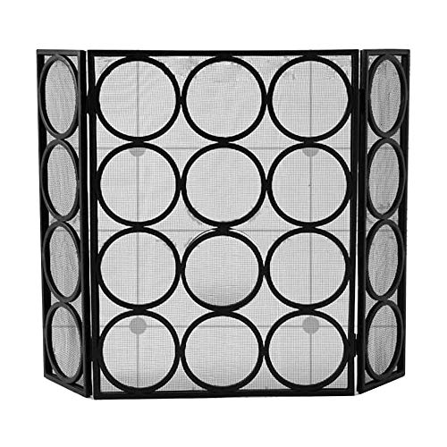 Find Bargain WJMLS 3 Panel Spark Guard, Iron Fireplace Screen Panel, Metal Mesh Safety Fire Place Gu...