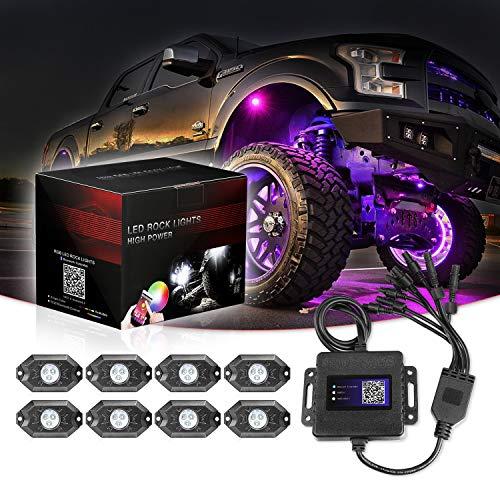 RGB LED Rock Lights, 8 Pod Lights SWATOW 4x4 Multicolor Neon RGB LED Lights Kit w/Bluetooth Control Underglow Trail Rig Lights Wheel Rock Lights for Truck Jeep Car ATV UTV RZR