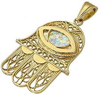 Yemenite Hamsa Pendant with Roman Glass Evil Eye in 14k Gold Filigree Design