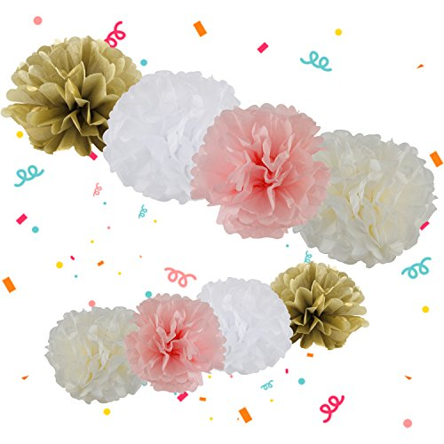 MONILON Party Decorations, 65 Pcs Tissue Paper Pom Poms Flower Paper Tassel Polka Dot Garland Balloons Hanging Paper Bunting for Baby Shower Wedding Birthday Bridal Shower Christmas Party Decoration