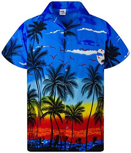 Funky Camisa Hawaiana, Manga Corta, Beach, Azul, XS