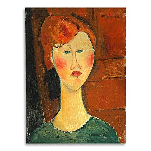 Giallobus - Schilderij - Amedeo Modigliani - Roodharige vrouw - bedrukking op plexiglas acryl - klaar om op te hangen - Diverse formaten - 50x70 cm