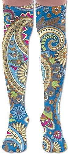 hgfyef Blumendekor Paisley Muster Radfahren Erwachsene Knie Oberschenkel Socken