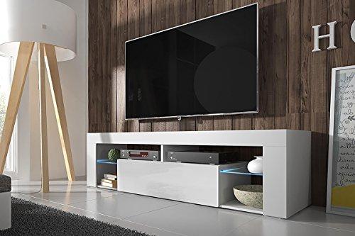 Selsey Bianko – TV Bank / TV-Schrank mit Klapptür, laminierte Platte, Weiß, 35 x 140 x 51 cm