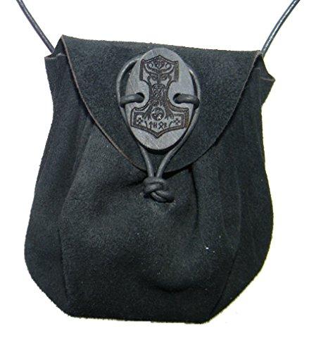 Mittelalterlicher Lederbeutel mit Hornverschluß (schwarz)