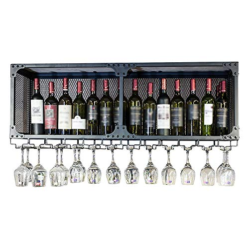 XuQinQin - Botellero con soporte de cristal forjado para bebidas con soporte para vasos de vino, 4 tamaños disponibles (color: negro, tamaño: 80 x 30 x 45 cm)