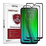 OMOTON [2 Stück Panzerglas Schutzfolie für Motorola Moto G7/ Moto G7 Plus (6.2 Zoll),völlige Abdeckung, 9H Festigkeit, Anti-Kratzen, Anti-Öl, Anti-Bläschen, schwarz