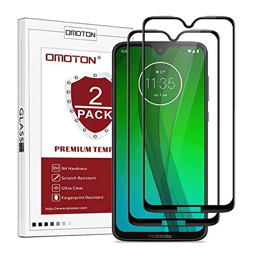 OMOTON [2 Stück Panzerglas Schutzfolie für Motorola Moto G7/ Moto G7 Plus (6.2 Zoll),völlige Abdeckung, 9H Härte, Anti-Kratzen, Anti-Öl, Anti-Bläschen, schwarz