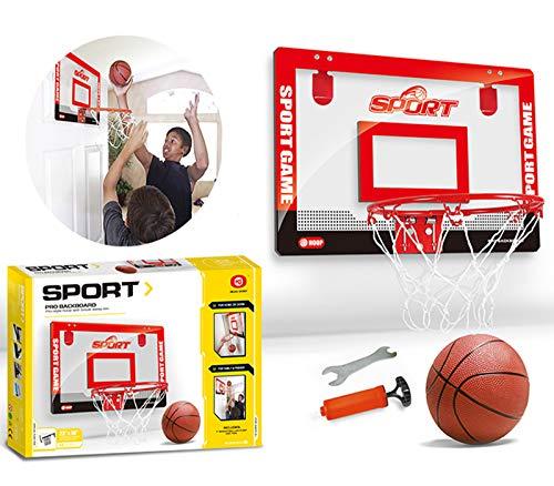 XJIANQI Kinder Mini Basketballkorb, Jungen Schlafzimmer Innen Freie Perforierte Transparent Suspension Ballsport Anzug red