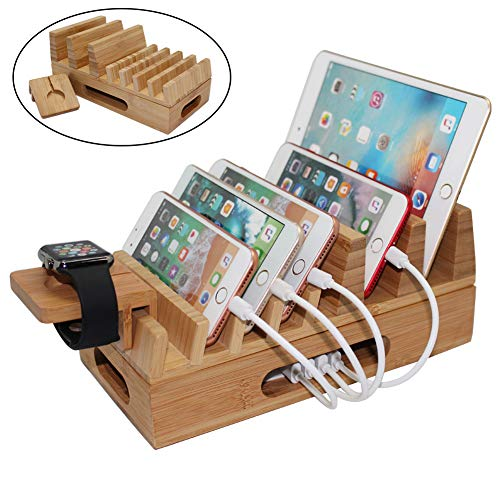 Pezin & Hulin Bamboo Charging Station Organizer for Multiple Devices & Wood Desktop Docking Charging Stand Such As Cell Phone, Tablets, Phone Case and Watch Stand