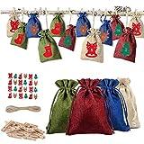 Oyria 24PCS Bolsa de Embalaje de Fieltro navideño Bolsa de Regalo con cordón navideño para Fiesta de Navidad Fiesta de cumpleaños Compromiso Favor de Vacaciones