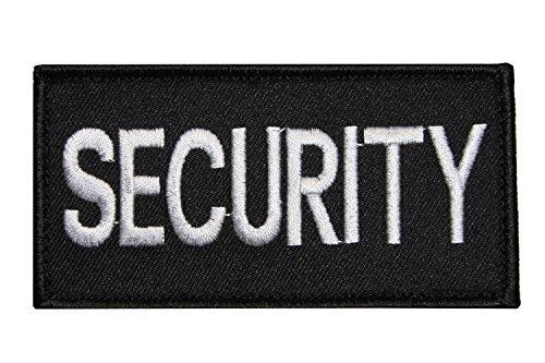 Erich Fritzsch KG Abzeichen Security Securitypatch Brust Gestickt mit Klett Größe 10 x 5,2 cm Weiße Schrift auf Schwarzem Stoff