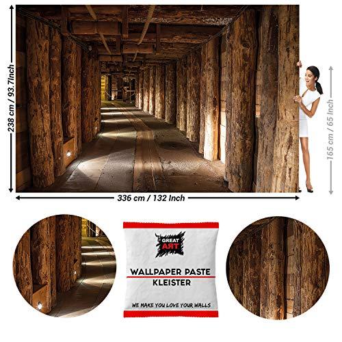 GREAT ART Fototapete Salzbergwerk Salzmine Wieliczka 336 x 238 cm – Untertage Bergwerg Holzbalken Untergrund Tunnel Wandtapete Dekoration Wandbild – 8 Teile Tapete inklusive Kleister