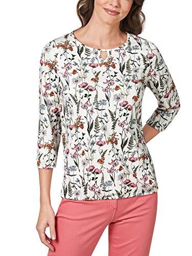 Walbusch Damen Blouson Shirt Blumenwiese Gemustert Weiß/Orange/Pink 42