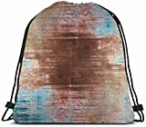 DHNKW Drawstring Backpack String Bag 14X16 Edge Brown Turquoise Retro Pattern Gray Simple Brush Frame Distressed Wall Aged Digital Aging Burst Ancient Sport Gym Sackpack Hiking Yoga Travel Beach