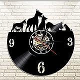 mubgo Relojes De Pared 1 Pieza Perros Vinilo Disco Reloj De Pared Arte Hecho A Mano Decoración para El Hogar LP Longplay Gramófono Animal Record Time Clock Reloj Iluminado