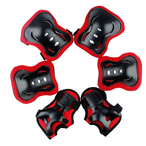 Valleycomfy Youth Kids Knee Pad Elbow Pads Wrist Guards Protective Gear 6 in 1 Set for Roller Skates Cycling BMX Bike Skateboard Inline Skatings Scooter Riding Sports (Red, M)