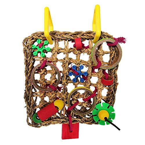 Wontee - Red de escalada para pájaros, paja, cuerda trenzada para colgar en la pared para periquitos, cacatúas, periquitos, jaula de amor, columpio