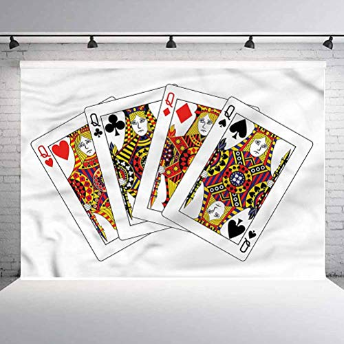 10x10FT Vinyl Photography Backdrop,Queen,Queens Poker Play Cards Background for Selfie Birthday Party Pictures Photo Booth Shoot