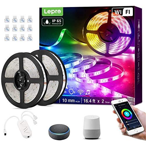 Lepro 10M 36W Tiras LED Exterior Impermeable IP65, Luces Tira LED WiFi(Solo 2,4 GHz) 16 Millones RGB Regulable, Control Remoto y Smartphone APP con Temporizador, Compatible con Voz Alexa y Google Home