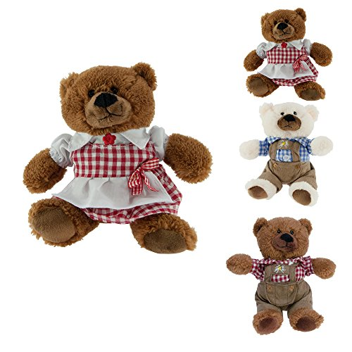 ebos Teddybär in Tracht ✓ | rot-weißes Dirndl (braun / rot-weiß Dirndl)