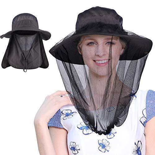 Mosquito Head Net Hat, Fishing Hat Gardening Hat Hiking Hat with 2pcs Bug Net,Dark Gray