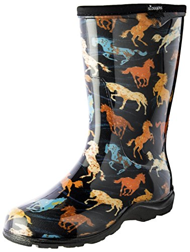Sloggers Women's Waterproof Rain and Garden Boot with Comfort Insole, Horse Spirit Black, Size 10, Style 5018HSBK10
