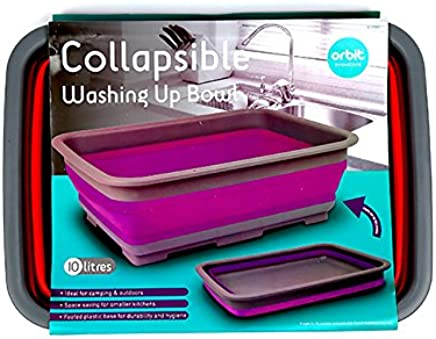 Orbit Innovations Collapsible Washing Up Bowl - Ideal for Camping (Colours may vary)