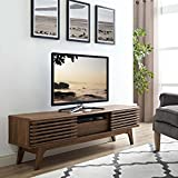 Modway Render Mid-Century Modern Low Profile 59 Inch TV Stand in Walnut