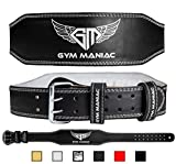 Gym Maniac GM Weight Lifting Waist Gym Belt | Adjustable Size, 2 Prong Buckle, Comfy Suede, Reinforced Stitching | Support Your Back & Alleviate Pains (Silver, Medium)