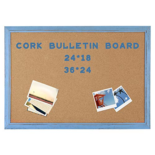 AMUSIGHT Cork Board with Blue Rustic Frame, Bulletin Board 36 x 24 Inches for Wall, Perfect for Home , School, Office