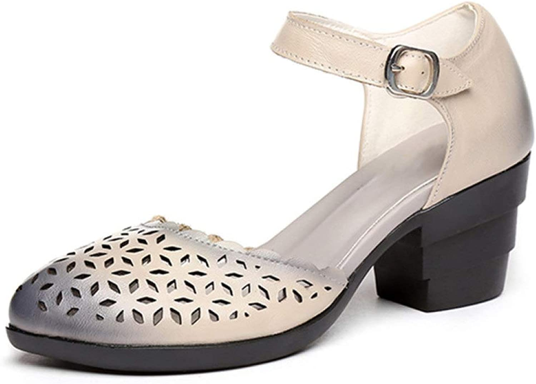 JOYBI Women Block Chunky Heel Pumps Sandals Ankle Strap Hollow Out Slip On Summer Retro Handmade Sandal