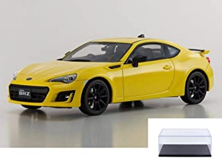 Kyosho Diecast Car & Display Case Package - Subaru BRZ GT, Yellow KSR18027Y - 1/18 Scale Collectible Resin Model Car w/Display Case