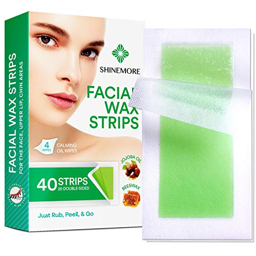 ShineMore Facial Wax Strips - Facial Hair Removal For Women - 40 Wax Strips + 4 Calming Oil Wipes - Gentle and Fast-Working for Face, Eyebrow, Upper Lip, Chin