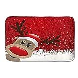 Ononego Christmas Snowman Pattern Home Kitchen Rugs Reindeer Printed Outdoor Indoor Entrance Doormats Anti-Slip Rubber Back Living Room Carpets Flannel Santa Printed Front Door Mats Home Living Room