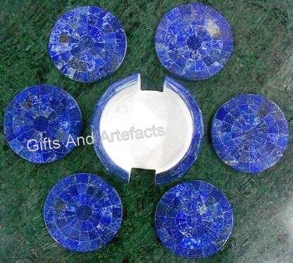 Juego de posavasos de mármol blanco con gemas de lapislázuli, arte mosaico con incrustaciones de accesorios de mesa de trabajo, posavasos, tamaño -3.5, tamaño de soporte: 4.5 pulgadas
