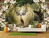 Papel Pintado Pared Flor De Vid Bosque Alce Fotomurales 3d Papel Pintado Dormitorio Decorativos Murales Wallpaper Fondo Decoración de Pared 150x105cm
