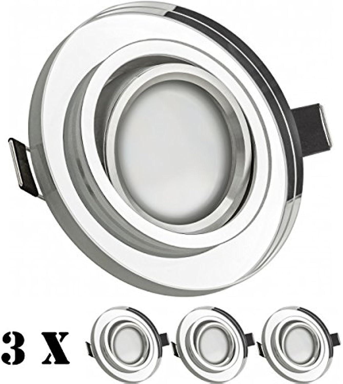 3er LED Einbaustrahler Set Wei mit LED GU5.3   MR16 Markenstrahler von LEDANDO - 5W - warmweiss - 110° Abstrahlwinkel - 35W Ersatz - A+ - LED Spot 5 Watt - Einbauleuchte LED rund