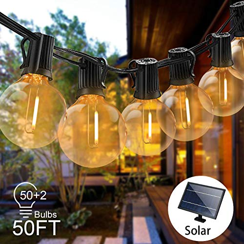 Svater Solar String Lights -50FT Solar Power String Lights Led with 50 Hanging Socket, 52 Globe Waterproof G40 Bulbs, Light Sensor Light String for Patio,Garden,Bistro
