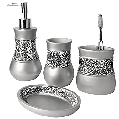 Creative Scents Brushed Nickel Bathroom Accessories Set, 4 Piece Bath Ensemble, Bath Set Collection Features Soap Dispenser Pump, Toothbrush Holder, Tumbler, Soap Dish- Silver Mosaic Glass