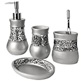 Creative Scents Gray Bathroom Accessories Set - 4 Piece Bathroom Decor Set for Home, Bath Restroom Set Features Soap Dispenser, Toothbrush Holder, Tumbler, Soap Dish - Bling Silver Mosaic Glass
