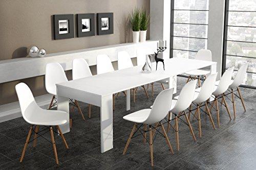 Ausziehbar bis 301 cm, weiß lackiert, Maße geschlossen: 90 x 49 x 75 cm Höhe.