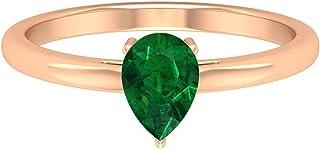 Lab Created - Anello solitario con smeraldo 1,05 ct, anello di fidanzamento in oro (6 x 8 mm a forma di pera, smeraldo cre...