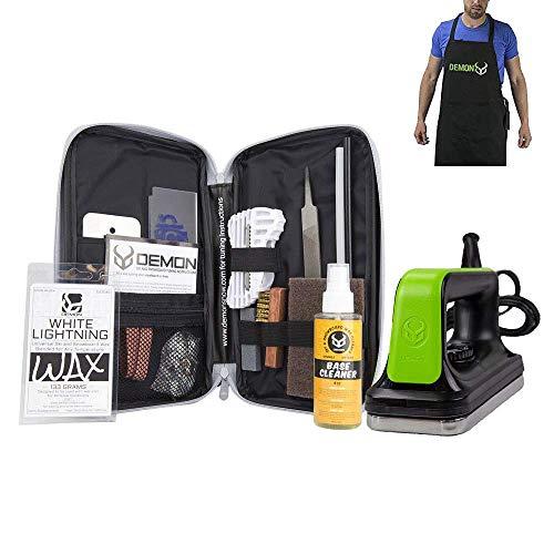 Demon Mechanic Ski and Snowboard Tuning Wax Kit with Universal Wax, Base Cleaner, Demon Slide Waxing Iron and Waxing Apron