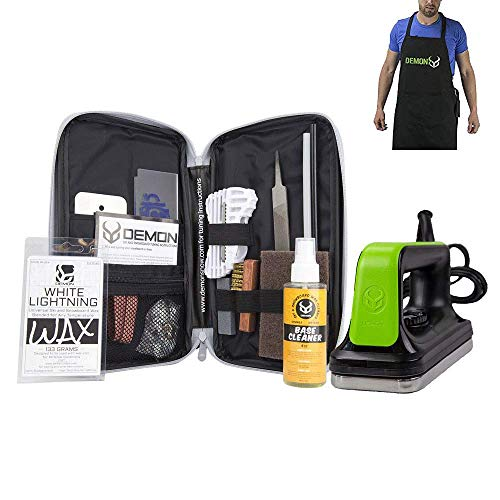 Demon Mechanic Ski and Snowboard Tuning Wax Kit with Universal Wax, Base Cleaner, Demon Slide Waxing Iron and Waxing Apron