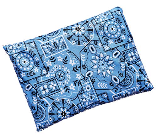 "Microwavable Corn Filled Heating Pad and Cold Pack/Washable 100% Cotton Cover (7.5""Wx11""L, Bandana - Light Blue)"