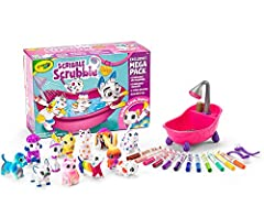Crayola Scribble Scrubbie Pets Mega Pack Animal Toy Set includes all 12 washable animal figures, 12 washable markers, 1 scrub tub, 2 scrub brushes, and an instruction sheet Color and customize these collectible animal toys then wash them and start ag...